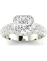 1.76 CTW Designer Popular Halo Style Baguette And Pave Set Round Diamond Engagement Ring w/0.96 Ct GIA Certified Cushion Cut H Color SI1 Clarity Center