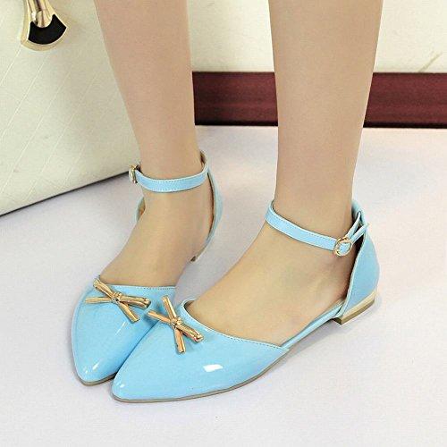 Blue Buckle Toe Bows Flats Fashion Chic Sandals Casual Carolbar Pointed Womens Cute 17xtPXq1w