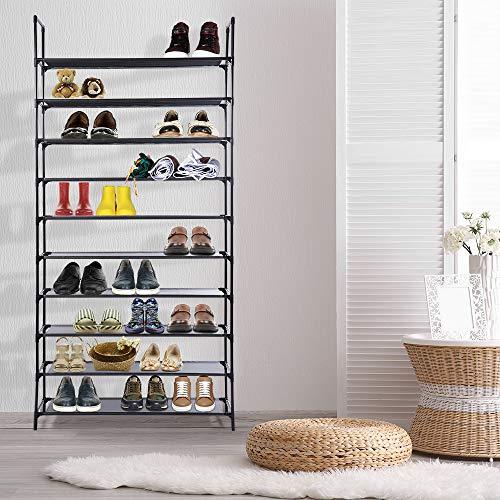 MIU COLOR 10 Tier Shoe Rack for 50 Pairs of Shoes Non-Woven Fabric Space Saving Storage Shelf Organizer for Bedroom Living Room Hallway Front Door Entryway Foyer Garage,33.86x11.41x70.86'', - 10 Shelf Storage Shoe Bag