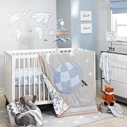 Lambs & Ivy Silver Cloud 3 Piece Baby Boy Crib Bedding Set
