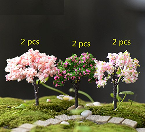 Miss.AJ Fairy Garden Trees, Miniature Garden Ornaments, Set of 6