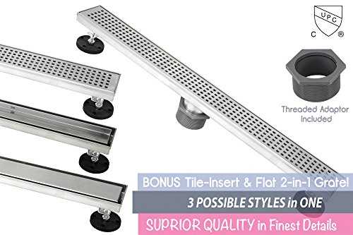 Shower Linear Drain 24 Inch – Square Checker Pattern Grate – Brushed 304 Stainless Steel – Bonus 2 IN 1 Reversible Tile Insert & Flat Grate and Threaded Adaptor – Adjustable Leveling Feet