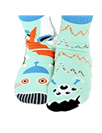 Kids Robot & Alien Outer Space Cosmic Pals Mismatched Silly Cool Socks for Boys Girls with Nonskid No Slip Grippers