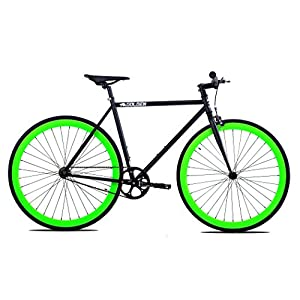 Golden Cycles Fixed Gear Bike Steel Frame Fixie with Deep V Rims Collection (V Neon Green, 48)