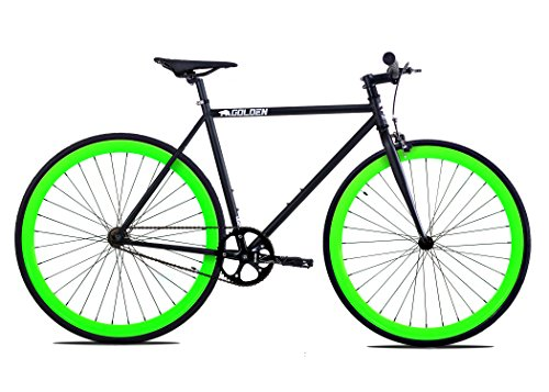 Golden Cycles Fixed Gear Bike Steel Frame Fixie with Deep V Rims Collection (V Neon Green, 52)
