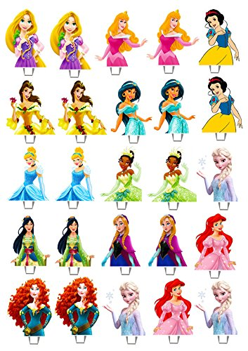 25 X Disney Princess Edible Wafer Peper Cup Cake Stand Up