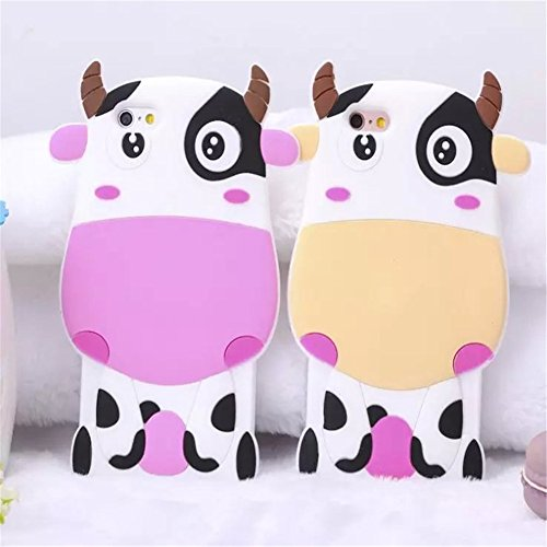 iphone 6 Plus Case,Cute Cartoon Animal Lulu Cat Milky Cow Yellow