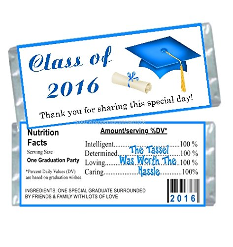 50 Class of 2016 Blue Graduation Candy Bar Wrappers Party Favors - Graduation Candy Bar