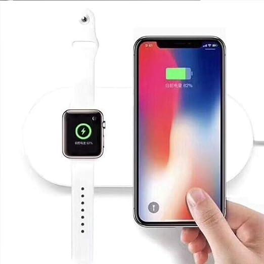 Cargador inalámbrico 2 en 1, almohadilla de carga inalámbrica para Apple Watch, Qi inalámbrico de carga rápida Pad soporte dispositivos compatibles ...