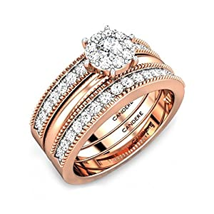 3 in 1 Solitaire Diamond Engagement Ring with Stackable Bands for Women Ladies Her in 14K Rose Gold (IGI Certified)