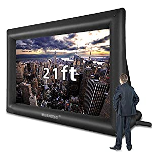 21 Feet Inflatable Outdoor and Indoor Theater Projector Screen – Includes Inflation Fan, Tie-Downs and Storage Bag…