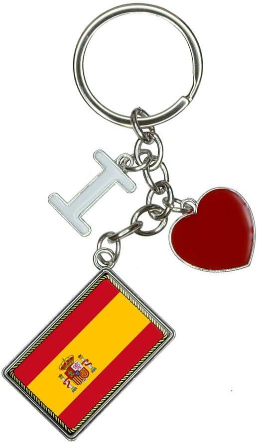 Bandera de España I corazón amor llavero llavero: Amazon.es: Oficina y papelería