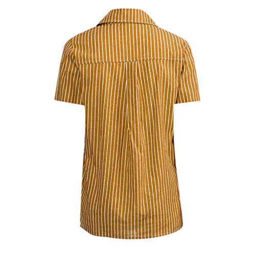 KYLEON Women's T-Shirts Striped Print Short Sleeve Button Down Casual Summer Girls Tops Tee Blouse Tunics with Pocket Yellow by KYLEON (Image #2)