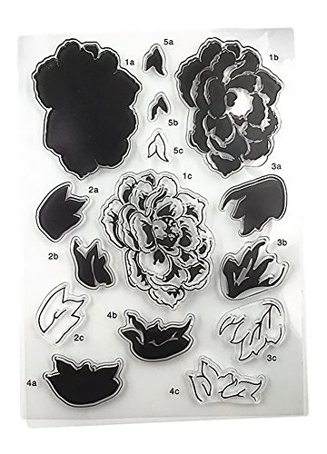 Zeroyoyo 1 Sheet Silicone Transparent Stamp Seal Big Peony Flower DIY Scrapbooking Album Clear Stamps (Vines Seal)
