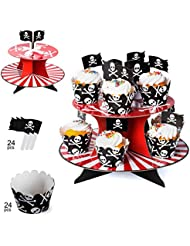 Pirate Party Supplies – Pirate Baking Supplies - Pirate Cupcake Stand, Cupcake Wrappers & Cupcake Toppers - Pirate Themed Party Supplies by Tigerdoe