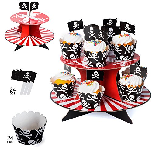 Pirate Party Supplies – Pirate Baking Supplies - Pirate Cupcake Stand, Cupcake Wrappers & Cupcake Toppers - Pirate Themed Party Supplies by Tigerdoe by Tigerdoe