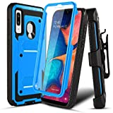 Numy Samsung Galaxy A20/A50/A30 Case,[Buit-in Screen Protector][Shockproof] Hybrid Heavy Duty Case with Swivel Belt Clip-Blue