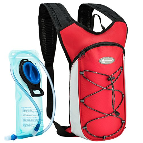 SPOGEARS Hydration Backpack, The Hydration Pack Includes 2L Leak Proof Water Bladder, On & Off Valve, Separate Pocket for The Bladder, Adjustable Padded Shoulder Straps, Perfect Sports Gear