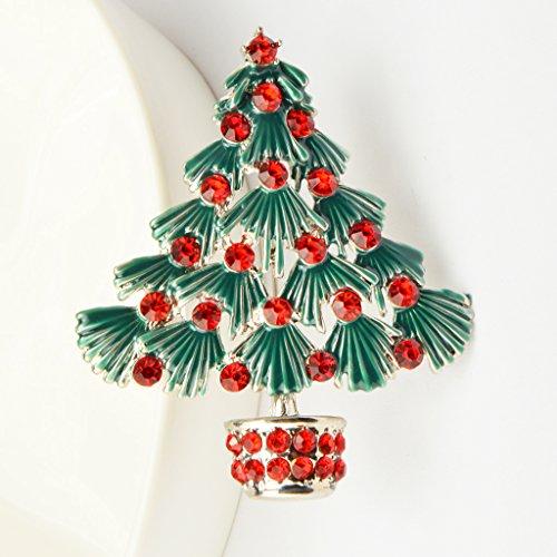 Rouge Vintage Fashion Arbre Noël Cristal Broches Cadeaux de Fête Epingles de Vacances