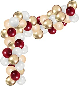 90PCS DIY Balloons Garland with Wine Red White Champagne gold Balloon Gold Chrome Shiny Metallic Latex Balloons Perfect for Birthday Party Bridal Baby Shower Engagement Wedding Party Decor(colorful)