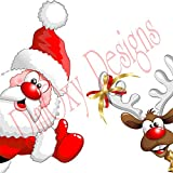 Santa 20'' and Reindeer 16''Picking at a window. Christmas and Holidays static cling decoration for windows, mirrors or polished metal surfaces.