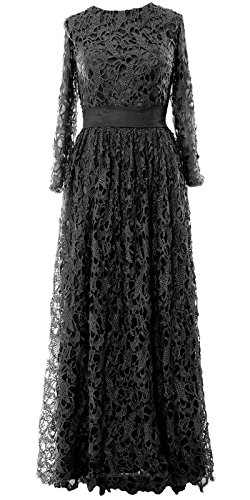MACloth Women Long Sleeve Lace Long Mother of Bride Dress Formal Evening Gown Negro