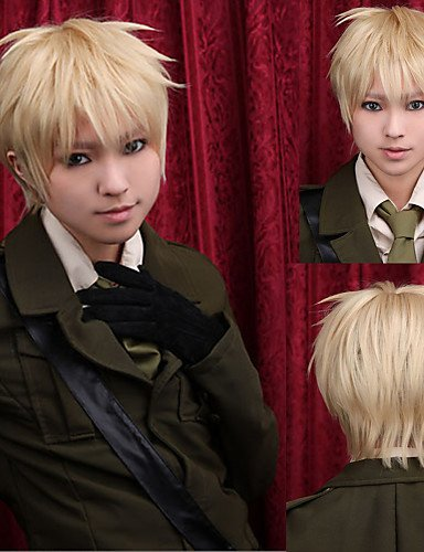 Convenient and simple pretty Angelaicos Men Arthur KirklandAxis Powers Boy Blonde Layered Halloween Party Costume Cosplay