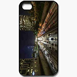 Protective Case Back Cover For iPhone 4 4S Case Los Angeles USA California Road Flow Black