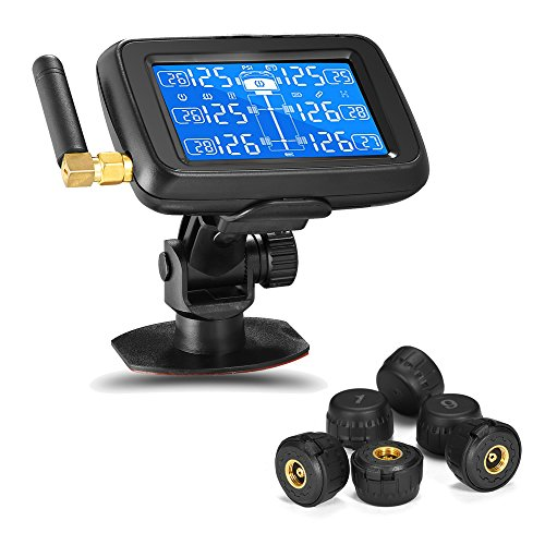 Careud RV TPMS Tire Pressure Monitoring System Wireless RV Truck Bus Trailer Real Time Monitoring Tires Pressure & Temperature w/Rechargeable Large LCD Display and 6 THEFT PROOF Cap Sensors(U901T)