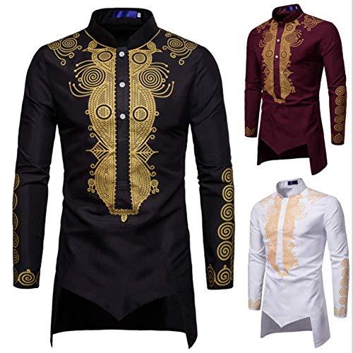 Shirt Dashiki African Men - HaoDong Men's African Print Dashiki T-Shirt Long Sleeve Tops Blouse Black