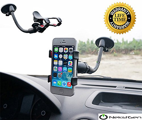 Universal long armed double clip phone cradle holder mount stand for cars/boats fits up to 6-Inch smartphones, samsung phones, iPhone 6,6 Plus, 7,7 Plus, iPhone 8, iPhone X and any GPS devices
