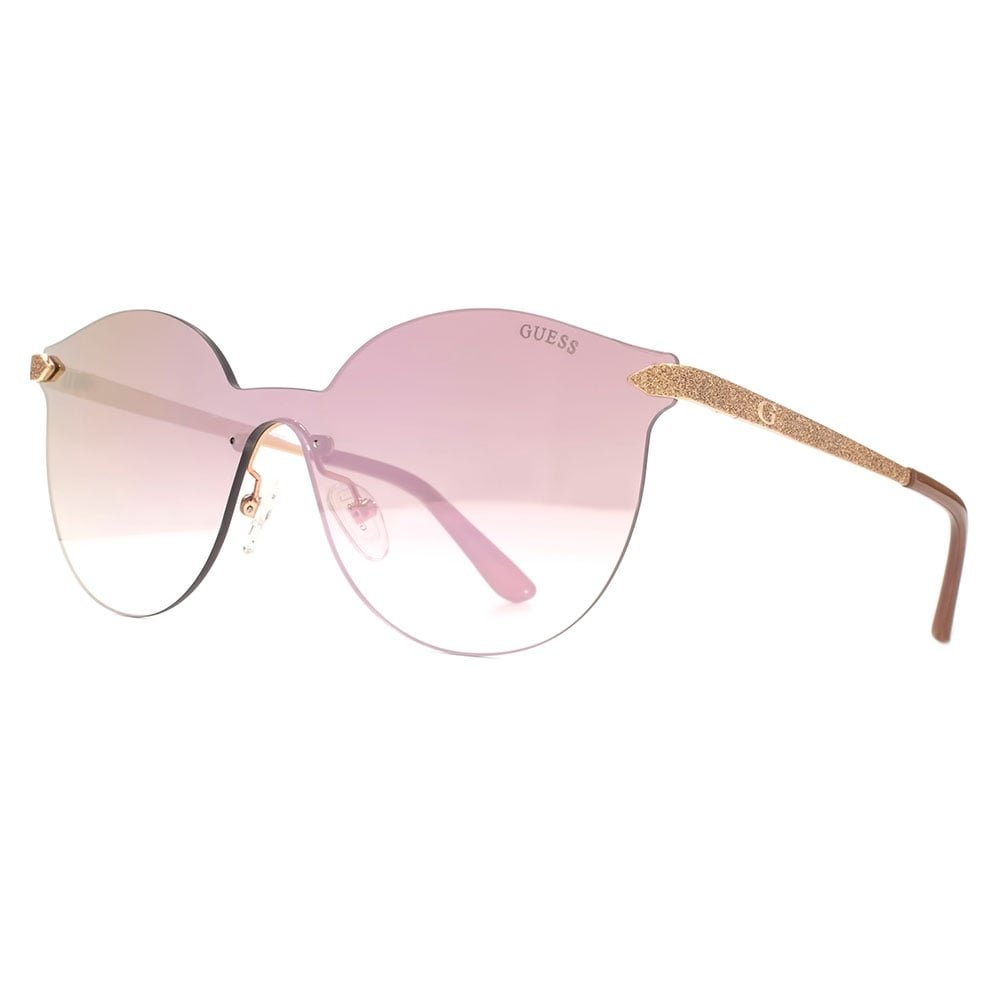 Guess Rimless Peaked Round Shield Sunglasses in Shiny Rose Gold Bordeaux Mirror GU7547 28U 00 GU7547A