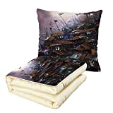 Quilt Dual-Use Pillow Fantasy Futuristic Fiction Old Wooden Castle with Circular Windows Architecture Graphic Multifunctional Air-Conditioning Quilt Mauve Brown