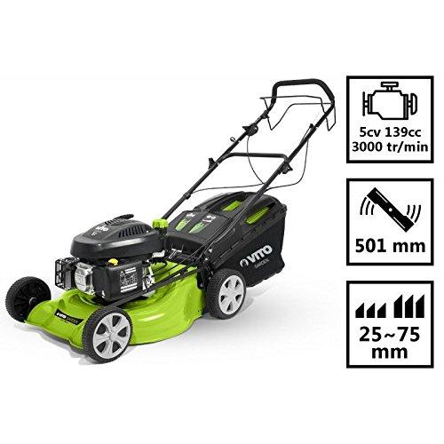 Rasenmäher Vito zu Traktion 5CV Keilrahmen Metallic Motor OHV–Schnitt 50cm–Höhe 25–75mm–Becken 50L