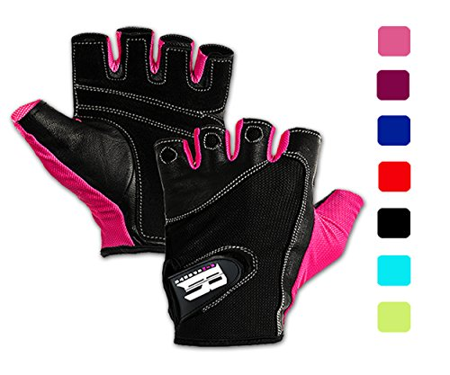 Women's Fit Grip Weight Lifting Gloves w/ Washable Ladies Gym Workout Crossfit Pink,Large - Ladies Gym