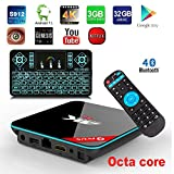 APES 32GB ROM 3GB RAM QBOX+ Q Plus 1080p 4K 3D OCTA CORE Android 7.1 Amlogic S912 Dual Wifi 2.4G/5G Bluetooth 4.1 TV Streaming Media Set Top Box+Q9 RPG Color Backlit Wireless Keyboard Remote