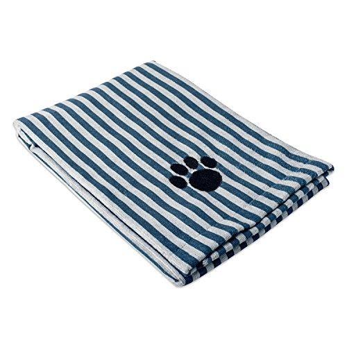 Bone Dry DII Microfiber Pet Bath Towel with Embroidered Paw Print, 44x27.5, Ultra-Absorbent & Machine Washable for Small, Medium, Large Dogs and Cats-Navy Stripe