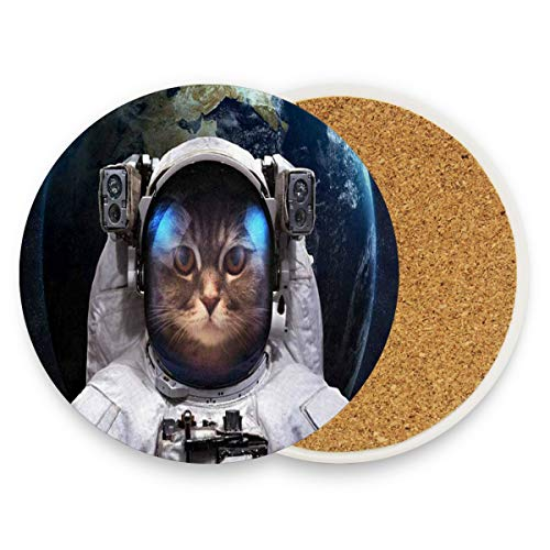 Cat Astronaut Outer Space Spacewalk Earth Universe Coasters,Protection