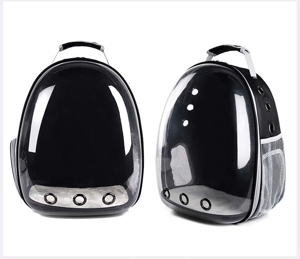 BLACK LLYU Pet cat bag pet out bag transparent backpack portable dog bag space capsule cat bag (color   BLACK)