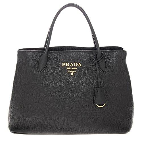 Prada Women's Grained Leather Tote Black -