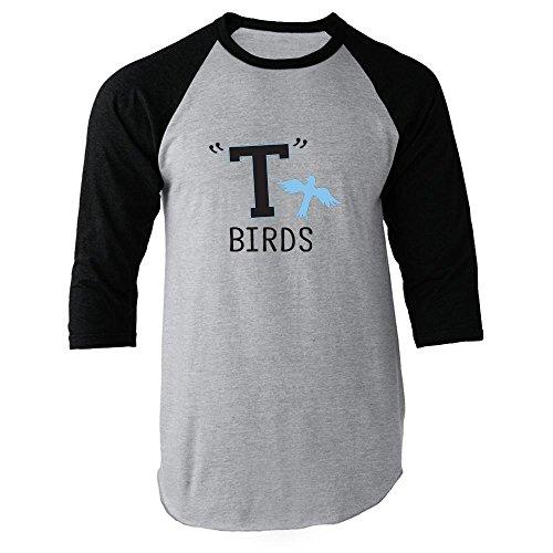 (T Birds Gang Logo Costume Retro Black 2XL Raglan Baseball Tee)