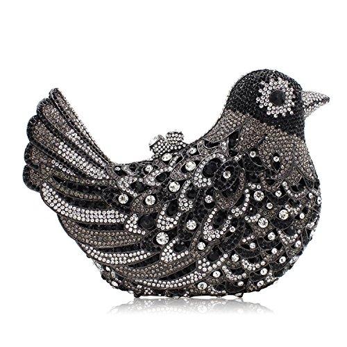 Milisente Mujer Noche Bolso Pájaro Cristal Fiesta Noche Clutch Bolsos (AB Gold) Negro Plateado