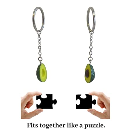 Cute Avocado Keychain Set for Bestfriends and Couples - Matching Keyrings Fits Like A Puzzle. A Perfect Gift for All Occasions, Valentines, Birthdays ...