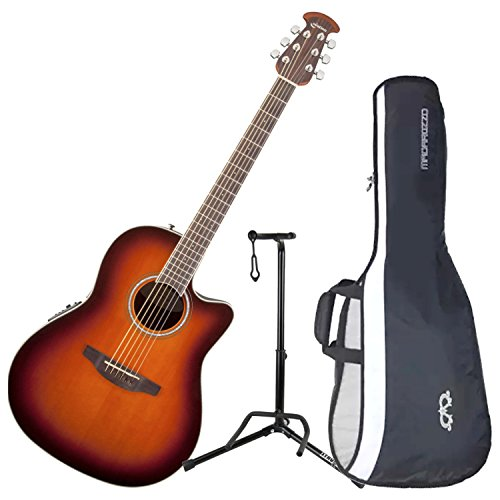 Ovation CS24-1 Celebrity Standard Mid-Depth Sunburst Acoustic/Electric Guitar with Gig Bag and Guitar Stand