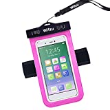 Wifzu Waterproof Case Dry Bag Universal Cell Phone Pouch with Armband for 6-Inch Phablets Water Resistant Rose Red