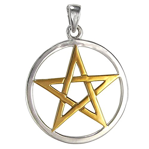 Large Sterling Silver interwoven Pentacle Pendant with 14 Carat Gold Plating