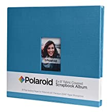 """Polaroid 8""""x8"""" Cloth Covered Scrapbook Photo Album w/Front Picture Window For 2x3 Photo Paper Projects (Snap, Zip, Z2300) - Blue"""