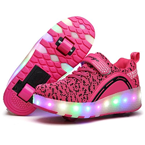 Nsasy YCOMI Unisex Boy's Girl's LED Light UP Single Wheel Double Wheel Shoes Roller Shoes Roller Sneakers ... (30 M EU / 12.5 M US Little Kid, Pink (Double Wheel))