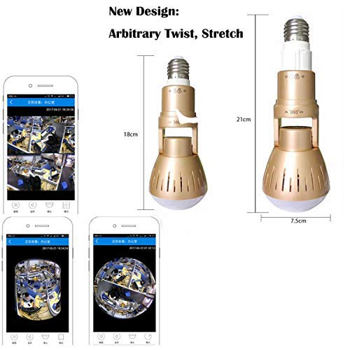 Upgrade Wireless Bulb Hidden Camera -LiyaHa 360 Degree Panoramic Fisheye Lens LED Security Night Vision Cameras Lights Remote View Motion Detection