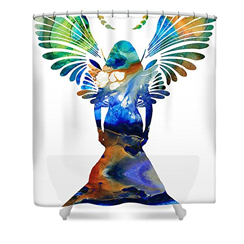 Pixels Shower Curtain (74'' x 71'') ''Healing Angel - Spiritual Art Painting'' by Pixels